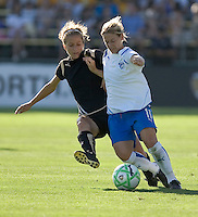Kristen Graczyk (left) and Mary-Frances Monroe (11) struggle for control of the ball. Boston Breakers defeated FC Gold Pride 1-0 at Buck Shaw Stadium in Santa Clara, California on July 19, 2009.