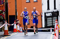03 JUL 2010 - ATHLONE, IRL - Iain Dawson (left) and his guide tackle the hill during the European Paratriathlon Championships .(PHOTO (C) NIGEL FARROW)