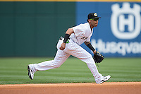 Charlotte Knights shortstop Leury Garcia (24) on defense against the Norfolk Tides at BB&T BallPark on June 7, 2015 in Charlotte, North Carolina.  The Tides defeated the Knights 4-1.  (Brian Westerholt/Four Seam Images)