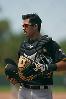 Pittsburgh Pirates catcher Blake Sabol (88) during a Minor League Spring Training intrasquad game on April 21, 2021 at Pirate City in Bradenton, Florida.  (Mike Janes/Four Seam Images)