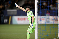 CARSON, CA - MARCH 07: GK Maxime Crepeau #16 of the Vancouver Whitecaps giving directions during a game between Vancouver Whitecaps and Los Angeles Galaxy at Dignity Health Sports Park on March 07, 2020 in Carson, California.