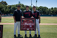 STANFORD, CA - MAY 29: Zach Grech, Thomas Eager, David Esquer before a game between Oregon State University and Stanford Baseball at Sunken Diamond on May 29, 2021 in Stanford, California.