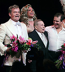 """Kelsey Grammer, Jerry Herman, Douglas Hodges, Christine Andreas with ensemble cast<br />during the Broadway Opening Night Performance Curtain Call for  """"La Cage Aux Folles""""  at the Longacre Theatre in New York City."""