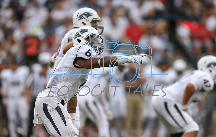 Nevada's Don Jackson lines up in an NCAA college football game against Arizona in Reno, Nev., on Saturday, Sept. 12, 2015.(AP Photo/Cathleen Allison)