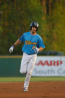 Myrtle Beach Pelicans outfielder Daniel Spingola (22) running the bases during a game against the Lynchburg Hillcats at Ticketreturn Field at Pelicans Ballpark on April 14, 2017 in Myrtle Beach, South Carolina. Lynchburg defeated Myrtle Beach 5-2. (Robert Gurganus/Four Seam Images)
