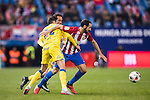 "Juan Francisco Torres Belen ""Juanfran"" (r) of Atletico de Madrid competes for the ball with Helder Lopes and Jeronimo Figueroa Cabrera ""Momo"" of UD Las Palmas during their Copa del Rey 2016-17 Round of 16 match between Atletico de Madrid and UD Las Palmas at the Vicente Calderón Stadium on 10 January 2017 in Madrid, Spain. Photo by Diego Gonzalez Souto / Power Sport Images"