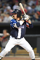 Left fielder Jay Jabs (7) of the Columbia Fireflies bats in a game against the Rome Braves on Monday, July 3, 2017, at Spirit Communications Park in Columbia, South Carolina. Columbia won, 1-0. (Tom Priddy/Four Seam Images)