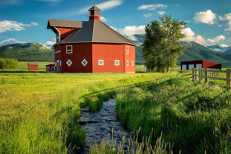 Triple Creek barn and stream. Joseph, Oregon