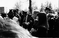 Berthierville (QC) CANADA - 1982 File Photo - Pierre Trudeau, Primie Minister, canada attend the <br /> Ferrari driver Gilles Villeneuve funeral in his hometown of Berthierville, follwing his accidental death May 8, 1982.<br /> <br /> Villeneuve died after an accident during the final qualifying session for the Belgian Grand Prix at Zolder
