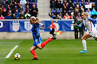 Harrison, NJ - Sunday March 04, 2018: Eugénie Le Sommer scores during a 2018 SheBelieves Cup match match between the women's national teams of the United States (USA) and France (FRA) at Red Bull Arena.