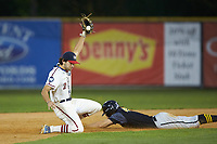 High Point-Thomasville HiToms shortstop Ethan Murray (2) (Duke) fields a throw as Damon Dues (40) (Wright State University) of the Wilson Tobs slides head first into second base at Finch Field on July 17, 2020 in Thomasville, NC. The Tobs defeated the HiToms 2-1. (Brian Westerholt/Four Seam Images)