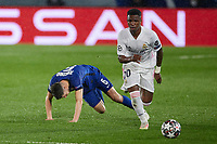 April 27th 2021; Alfredo Di Stefano Stadium, Madrid, Spain;  UEFA Champions League. Vinicius Jr. of Real Madrid goes past Jorge Luiz Frello Jorginho of Chelsea FC during the Champions League match, semifinals between Real Madrid and Chelsea FC played at Alfredo Di Stefano Stadium