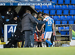 St Johnstone v Partick Thistle…27.01.18…  McDiarmid Park…  SPFL<br />David McMillan goes off injured after making his debut<br />Picture by Graeme Hart. <br />Copyright Perthshire Picture Agency<br />Tel: 01738 623350  Mobile: 07990 594431
