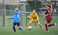 20160206 - Zulte , BELGIUM : Genk's Jessica Pironet (L) scoring the opening goal pictured during the soccer match between the women teams of Zulte Waregem and Ladies Genk , in the quartel final matchday of the Belgian CUP - Beker van Belgie voor Vrouwen competition on Saturday 6th February 2016 in Zulte .  PHOTO SPORTPIX.BE DIRK VUYLSTEKE