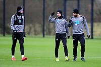 (L-R) Oli McBurnie, Bersant Celina and Cameron Carter-Vickers of Swansea City in action during the Swansea City Training at The Fairwood Training Ground, Swansea, Wales, UK. Tuesday 22 January 2019