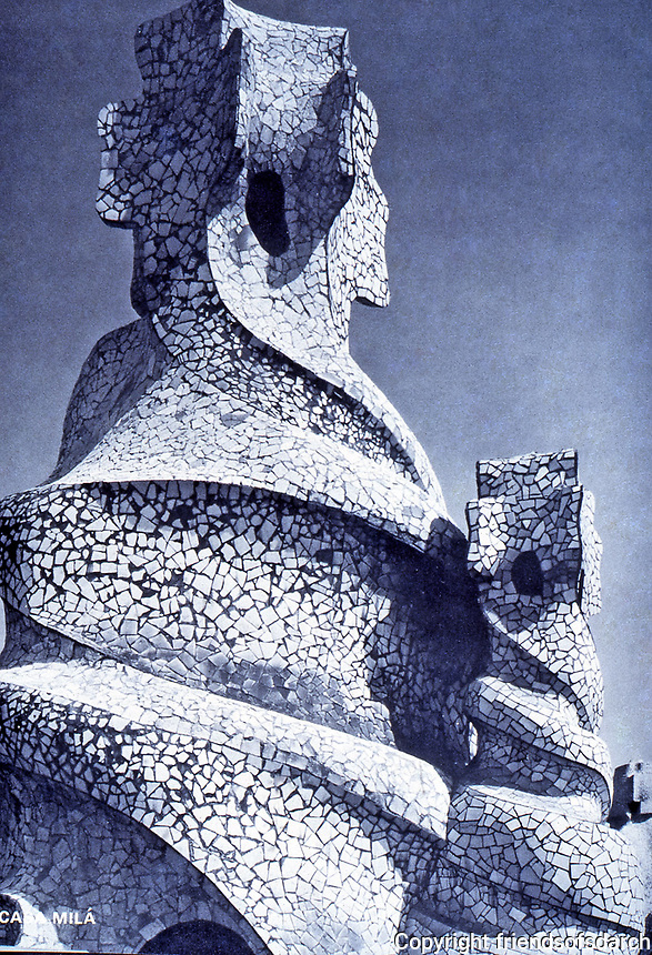 Sculptured chimney in Casa Mila. built of a drum covered with limestone, broken marble or glass. It performs a specific architectural function, but a real sculptures integrated into the building. Antoni Gaudi, Art Nouveau.