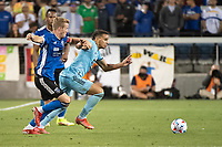 SAN JOSE, CA - AUGUST 17: Hassani Dotson #31 of Minnesota United dribbles the ball during a game between San Jose Earthquakes and Minnesota United FC at PayPal Park on August 17, 2021 in San Jose, California.
