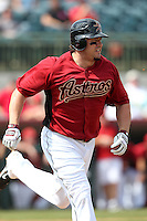 Houston Astros outfielder Jack Cust #9 runs to first during a spring training game against the Washington Nationals at Osceola County Stadium on March 3, 2012 in Kissimmee, Florida.  Houston defeated Washington 3-1.  (Mike Janes/Four Seam Images)