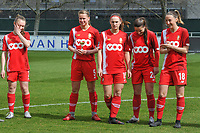 Aster Janssens (5) of Standard - player of the month March - pictured before a female soccer game between  AA Gent Ladies and Standard Femina de Liege on the first matchday of play-off 1 of the  2020 - 2021 season of Belgian Scooore Womens Super League , saturday 3 th of April 2021  in Oostakker , Belgium . PHOTO SPORTPIX.BE | SPP | STIJN AUDOOREN