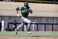 CARY, NC - FEBRUARY 23: Freddy Sabido #33 of Wagner College races to first base after hitting the ball during a game between Wagner and Penn State at Coleman Field at USA Baseball National Training Complex on February 23, 2020 in Cary, North Carolina.