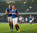 Nicky Law celebrates with Darren McGregor after scoring for Rangers