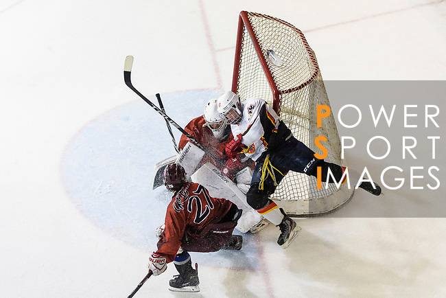 Chris Law of Sammi's (R) battle in the goal mouth with Tokyo Egoists Goalie Takeo Toyoda (C) during the Mega Ice Hockey 5s match between Tokyo Egoists and Sammi's Superstars on May 03, 2018 in Hong Kong, Hong Kong. Photo by Marcio Rodrigo Machado / Power Sport Images