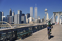 - New York, skyline of Manhattan from the Brooklyn bridge in 1985 with the twin towers of the World Trade Center, destroyed in the terroristic attack of the 11 september 2001 <br />