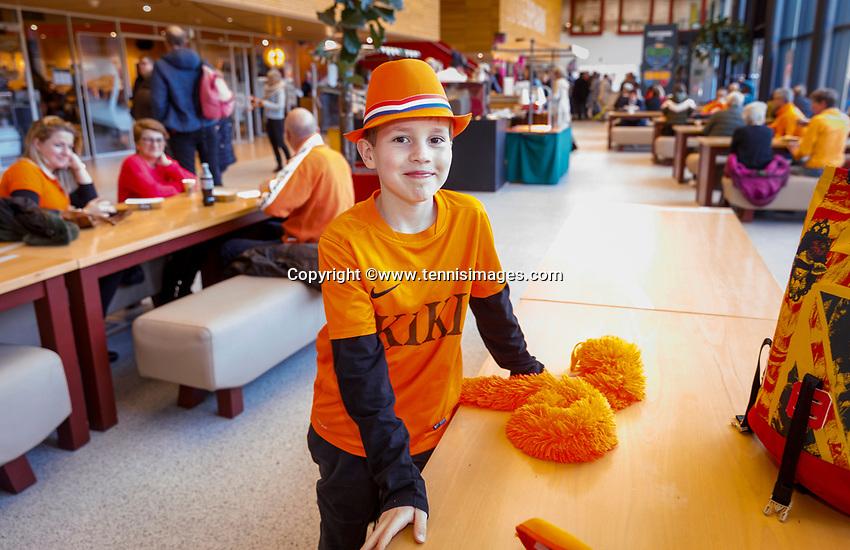 The Hague, The Netherlands, Februari 7, 2020,    Sportcampus, FedCup  Netherlands -  Balarus, young Dutch fan<br /> Photo: Tennisimages/Henk Koster