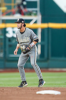 Vanderbilt Commodores shortstop Dansby Swanson (7) on defense during the NCAA College baseball World Series against the TCU Horned Frogs on June 16, 2015 at TD Ameritrade Park in Omaha, Nebraska. Vanderbilt defeated TCU 1-0. (Andrew Woolley/Four Seam Images)