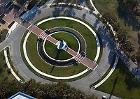 aerial photograph of the Sam Houston statue, Hermann Circle, Houston, Texas