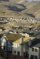 New tract homes being built in arid area of Reno, Nevada suburbs. Houses, housing development. Reno Nevada.