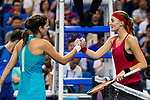 Julia Goerges of Germany (L) shakes hands with Kristina Mladenovic of France (R) after winning the singles Round Robin match of the WTA Elite Trophy Zhuhai 2017 at Hengqin Tennis Center on November  03, 2017 in Zhuhai, China.  Photo by Yu Chun Christopher Wong / Power Sport Images