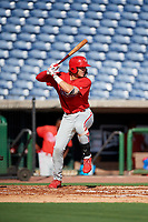 Philadelphia Phillies Alec Bohm (18) at bat during a Florida Instructional League game against the New York Yankees on October 12, 2018 at Spectrum Field in Clearwater, Florida.  (Mike Janes/Four Seam Images)