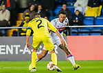 Memphis Depay (R) of Olympique Lyon is tackled by Mario Gaspar Perez Martínez of Villarreal CF during the UEFA Europa League 2017-18 Round of 32 (2nd leg) match between Villarreal CF and Olympique Lyon at Estadio de la Ceramica on February 22 2018 in Villarreal, Spain. Photo by Maria Jose Segovia Carmona / Power Sport Images