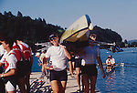 US Women's Eight, Lucerne, Switzerland, FISA 2001 World Rowing Championships, Kate Ronkainen, (r) Wendy Wilbur, (l) Lucerne Rotsee, coming off the water after workout,