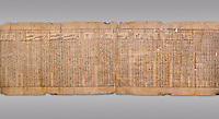 "Anciient Egyptian Book of the Dead papyrus - Spell 30 for stopping the heart betraying the deceased at the tribunal of Osiris, Iufankh's Book of the Dead, Ptolemai period (332-30BC).Turin Egyptian Museum. Grey Background<br /> <br /> the spell reads ' Stand not against me as a witness, oppose me not in the Council, act not against me before the gods, outweigh me not before the great God, the Lord os the West""<br /> <br /> The translation of  Iuefankh's Book of the Dead papyrus by Richard Lepsius marked a truning point in the studies of ancient Egyptian funereal studies."