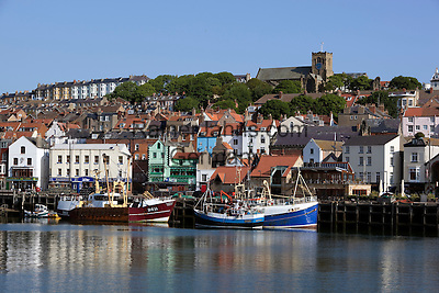 Great Britain, England, North Yorkshire, Scarborough: Fishing boats in the Old Harbour