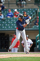 Toledo Mudhens left fielder Steven Moya (44) at bat during a game against the Rochester Red Wings on June 12, 2016 at Frontier Field in Rochester, New York.  Rochester defeated Toledo 9-7.  (Mike Janes/Four Seam Images)