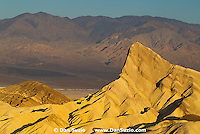 View of Manly Beacon from Zabriskie Point at sunrise, Death Valley National Park, California