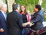 Sec. de Estado de cooperación del MAE con embajadora de Haiti, en el hotel Ritz después de la conferencia del presidente de Haiti.
