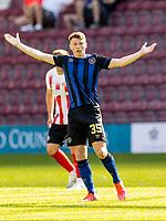17th July 2021; Tynecastle Park, Edinburgh, Scotland;Pre Season Friendly Football, Heart of Midlothian versus Sunderland; Aidan Denholm of Hearts calls for the ball