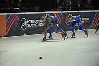 SPEEDSKATING: DORDRECHT: 05-03-2021, ISU World Short Track Speedskating Championships, QF 1500m Men, Charles Hamelin (CAN), Pietro Sighel (ITA), ©photo Martin de Jong