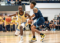 WASHINGTON, DC - FEBRUARY 8: Fatts Russell #1 of Rhode Island defends against Shawn Walker Jr. #1 of George Washington during a game between Rhode Island and George Washington at Charles E Smith Center on February 8, 2020 in Washington, DC.