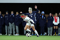 CHAPEL HILL, NC - NOVEMBER 16: Erin Patterson #29 of Belmont University is defended by Bridgette Andrzejewski #4 of the University of North Carolina during a game between Belmont and North Carolina at UNC Soccer and Lacrosse Stadium on November 16, 2019 in Chapel Hill, North Carolina.