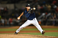 Pitcher Matt Blackham (6) of the Columbia Fireflies delivers a pitch in a game against the West Virginia Power on Friday, May 19, 2017, at Spirit Communications Park in Columbia, South Carolina. West Virginia won, 3-1. (Tom Priddy/Four Seam Images)