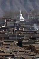 A stupa at Labrang (Chinese Name - Xiahe) Monastery on the Qinghai-Tibetan Plateau. China.