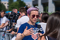 Lyon, FRA - July 3, 2019:  The USWNT held a press conference outside their hotel after the semifinals of the FIFA Women's World Cup.