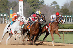 Robby Albarado leads Congenial into the 1st turn of the mile and sixteenth race number one along with the other horses following in a tight group. (Justin Manning/Eclipse Sportswire)