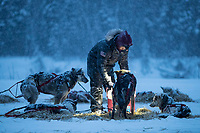 Mike Williams Jr. feeds his dogs as a heavy snow falls in the evening at Nikolai during the 2018 Iditarod race on Tuesday March 06, 2018. <br /> <br /> Photo by Jeff Schultz/SchultzPhoto.com  (C) 2018  ALL RIGHTS RESERVED