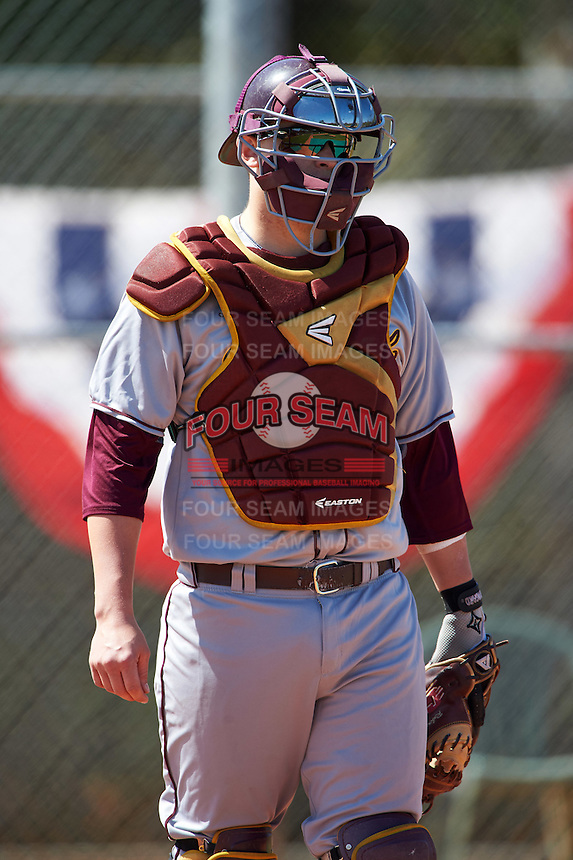 Central Michigan Chippewas catcher Robert Greenman (23) during practice before a game against the Boston College Eagles on March 3, 2017 at North Charlotte Regional Park in Port Charlotte, Florida.  Boston College defeated Central Michigan 5-4.  (Mike Janes/Four Seam Images)